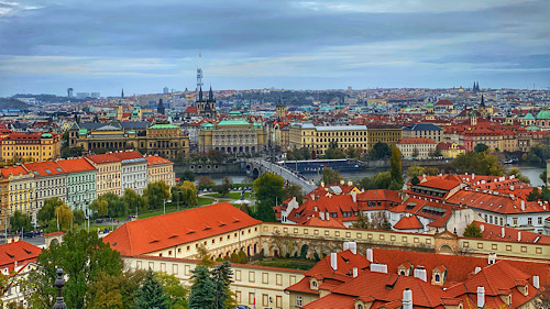 panorama over the old town of prague