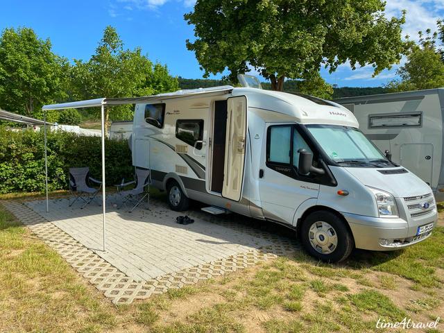 Unser Wohnmobil auf dem Campingplatz Gülser Moselbogen